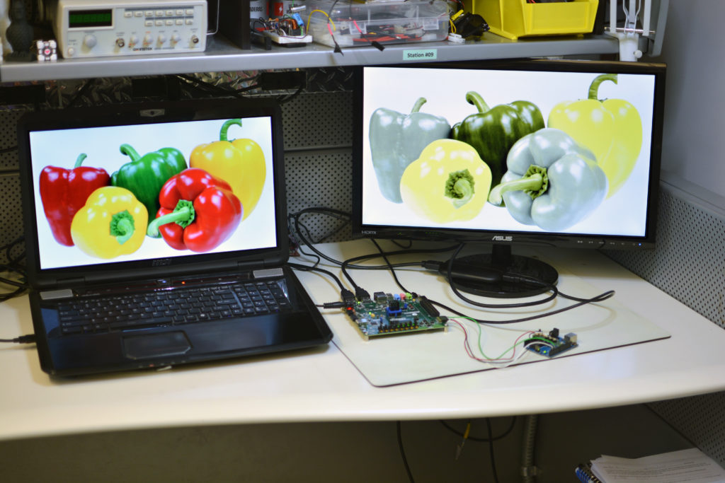 External monitor with color correction and simulation.
